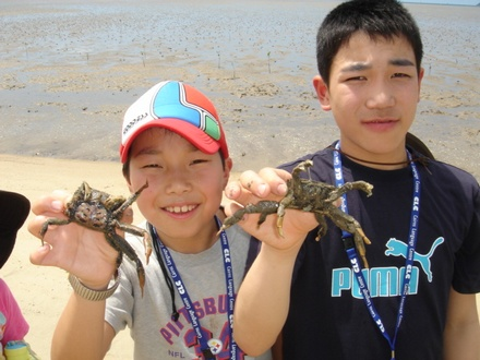 Hosei and Takeru with crabs.jpg